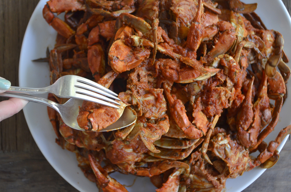 Linguini with Blue Crabs in Red Sauce