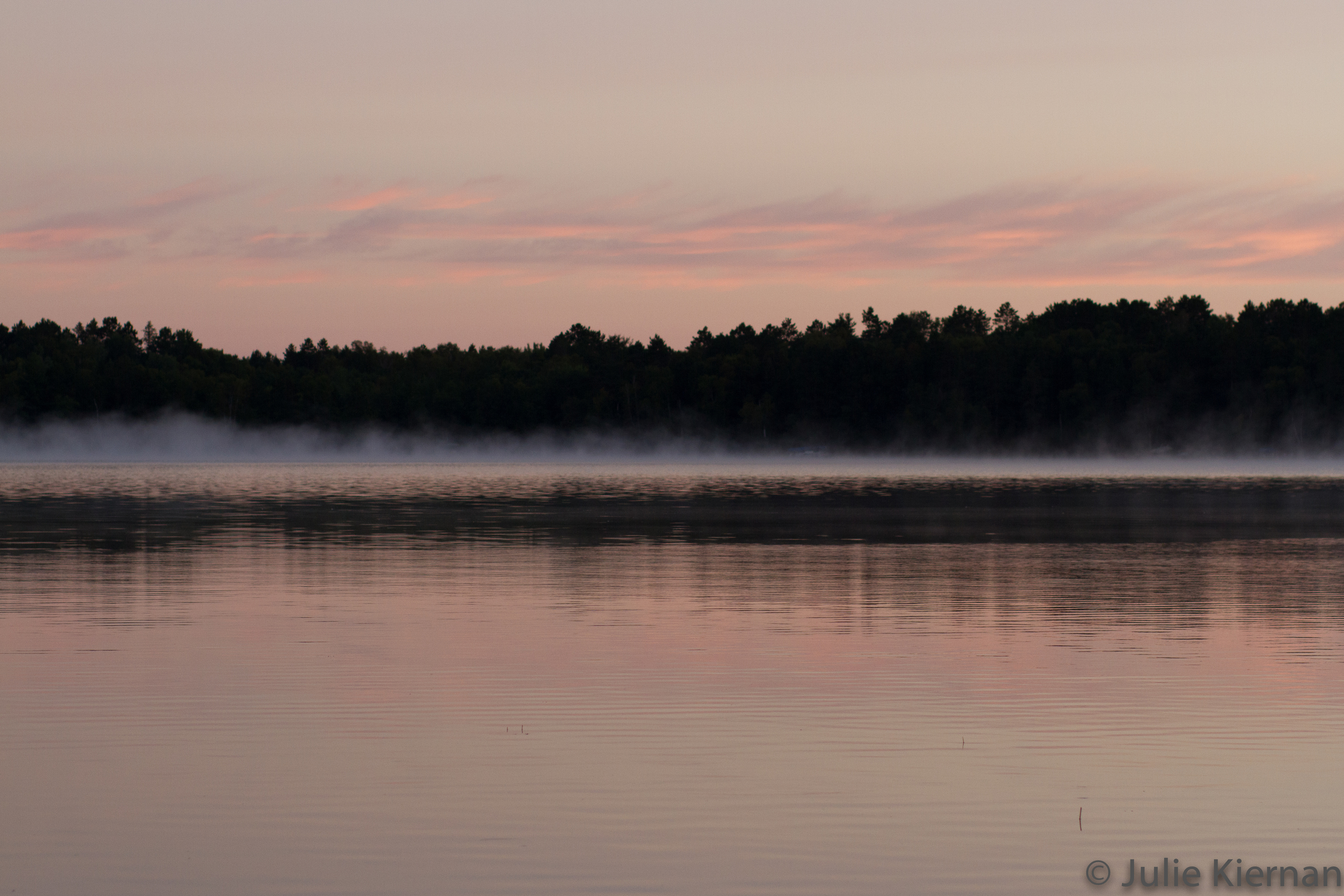 Sunrise fog on the lake at the cabin 8:52