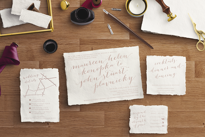 Letterpress Script Wedding Suite