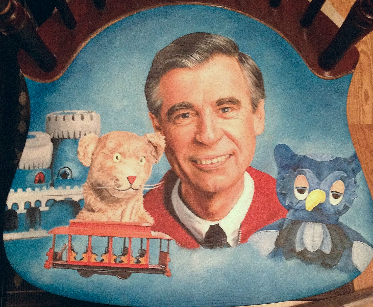Photo 6. At the last minute I decide to add King Fridays's castle. I originally wanted King Friday and Lady Elaine in the chair design but I drew Mr. Rogers and X the Owl too big for my original plan. Just a few more highlights to Mr. Rogers hair and tweaks here and there. Almost done!