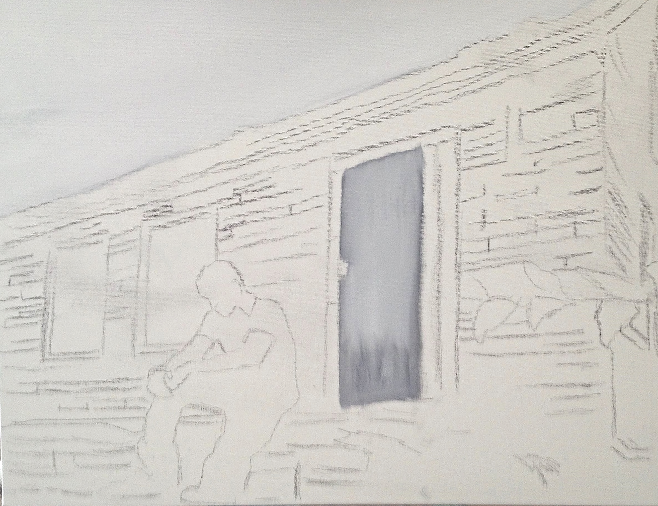 "Beginning stage of ""Shady"" painting with sketch still shown on the canvas."