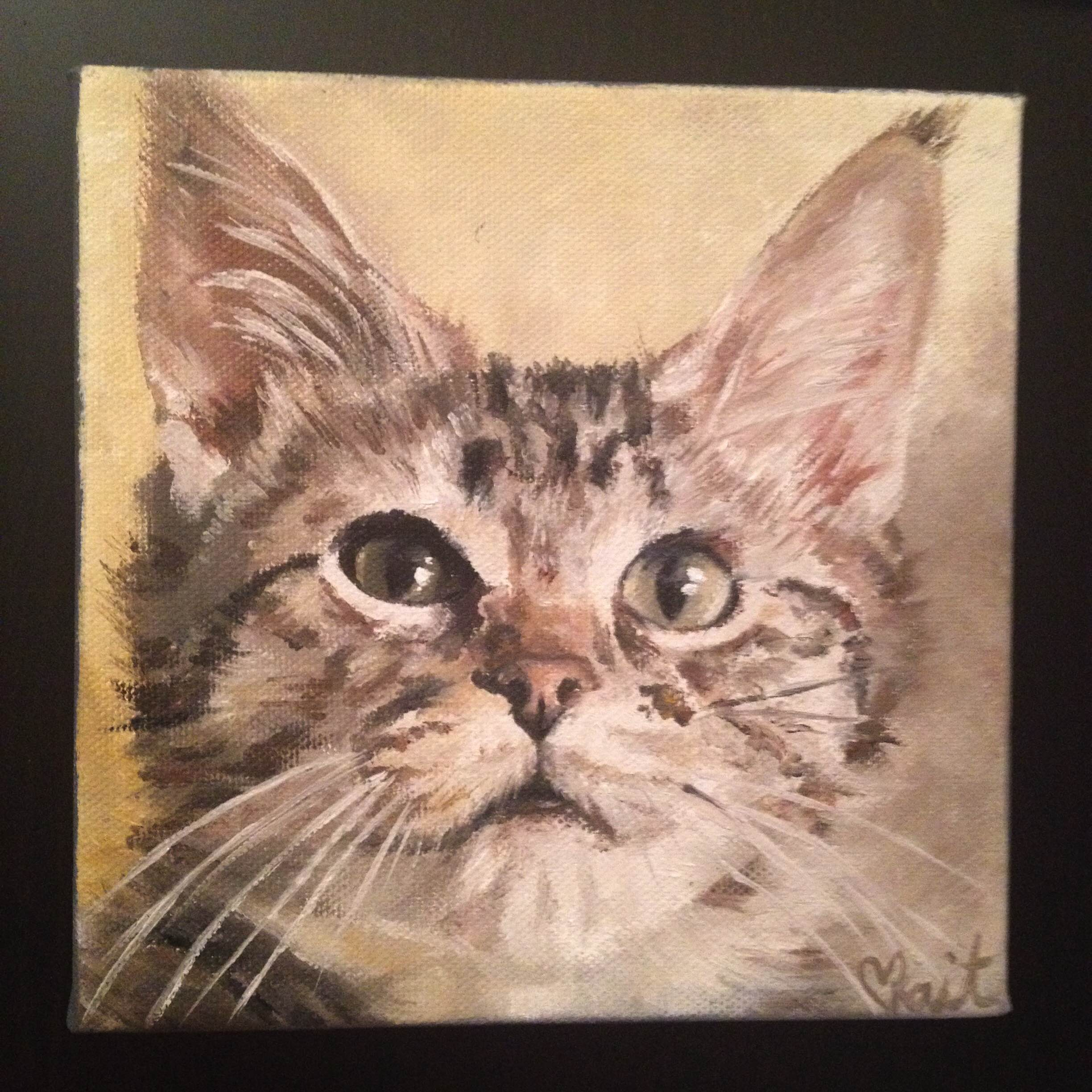 6 x 6'' oil painting commissioned pet portrait