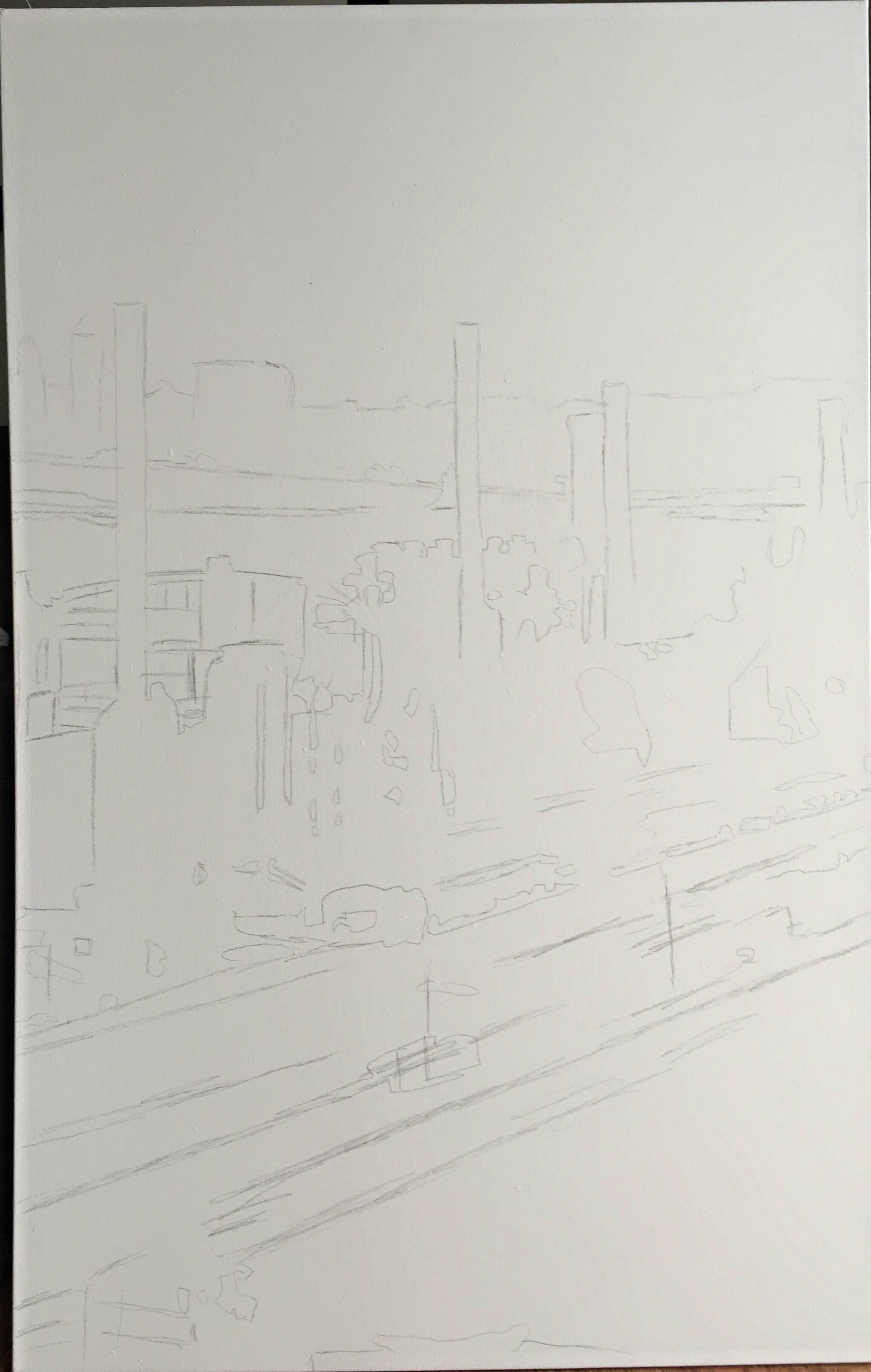 1. So i started the painting of J & L Steel by lightly drawing it onto the canvas. ipersonally like to sketch the picture onto the canvas and then lightly go over it with an eraser. I don't like to paint white over the lead lines because it'll bleed and muddy my white color while i'm painting which I hate.