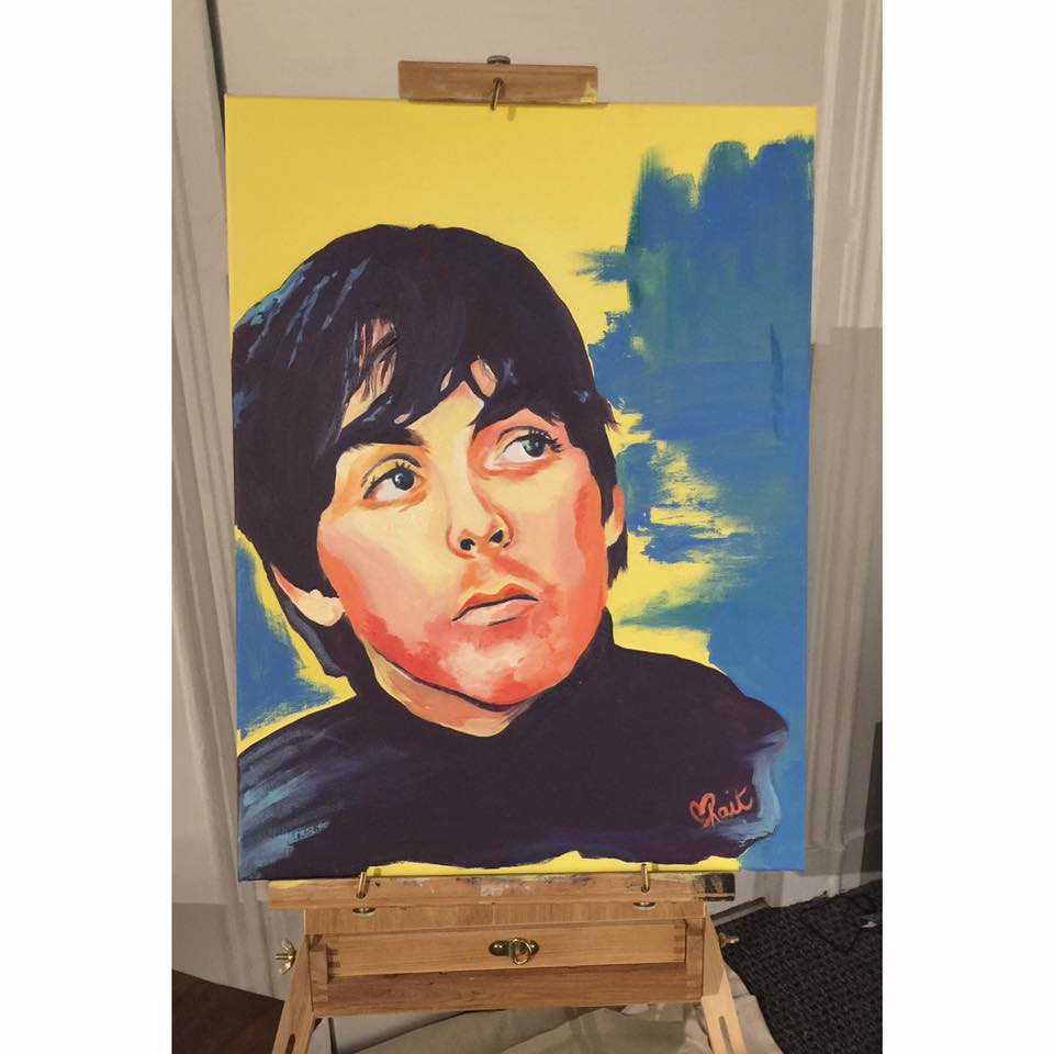 Kait's live painting of Paul McCartney at Chromos Eyewear show 10/24.  Acrylic painting 18 x 24in