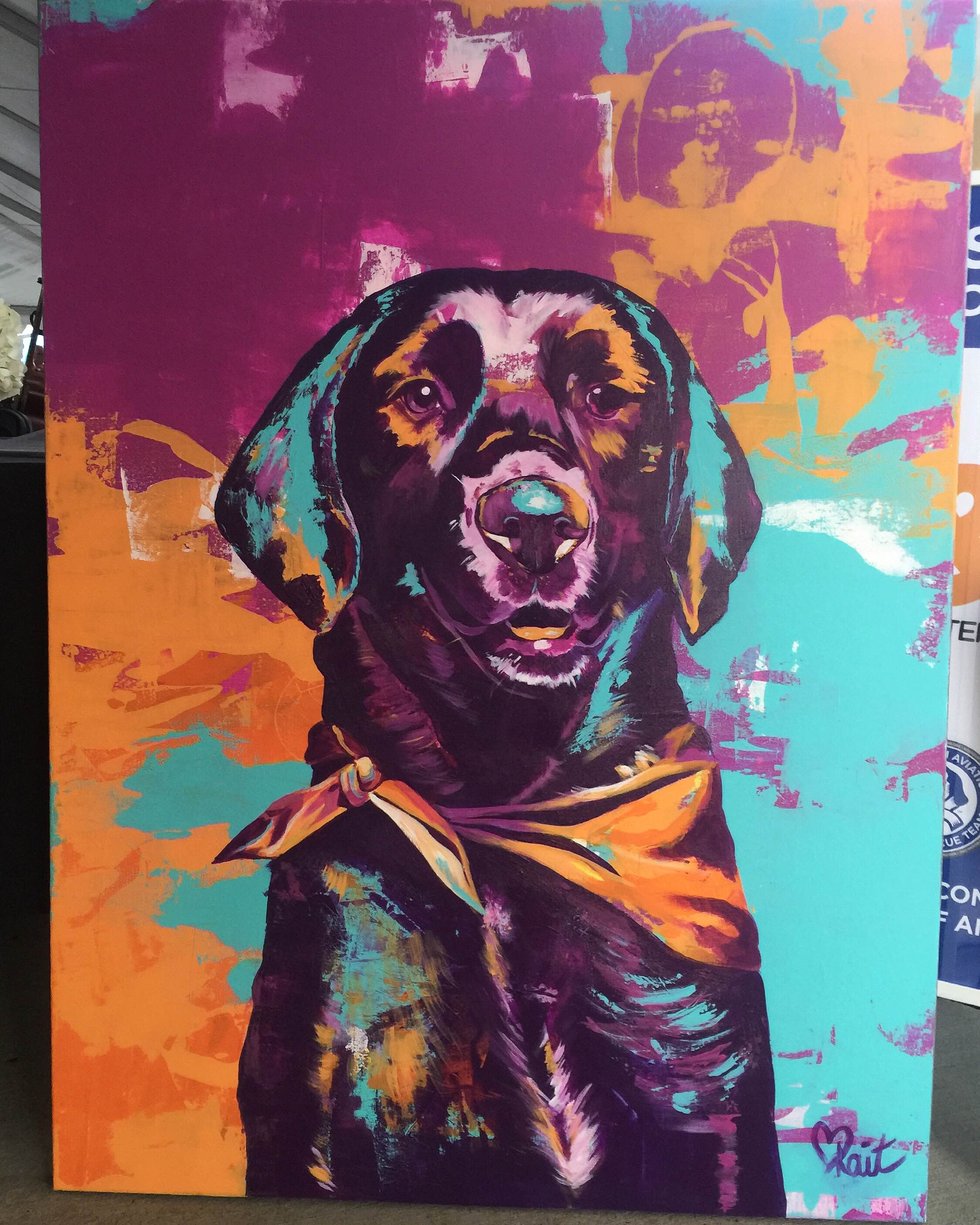 Final result of Kait's Live Painting at PAART Dog Days of Summer Event. 3ft x 4ft Acrylic on canvas.