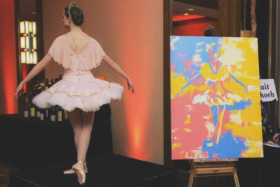 The ballerina model with her painted counterpart