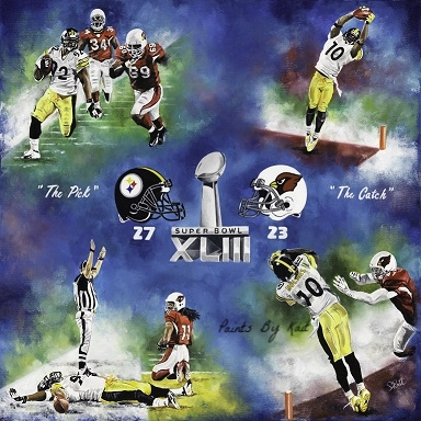 24inx 24in Oil on Canvas Superbowl XLIII Highlights Steelers vs Cardinals