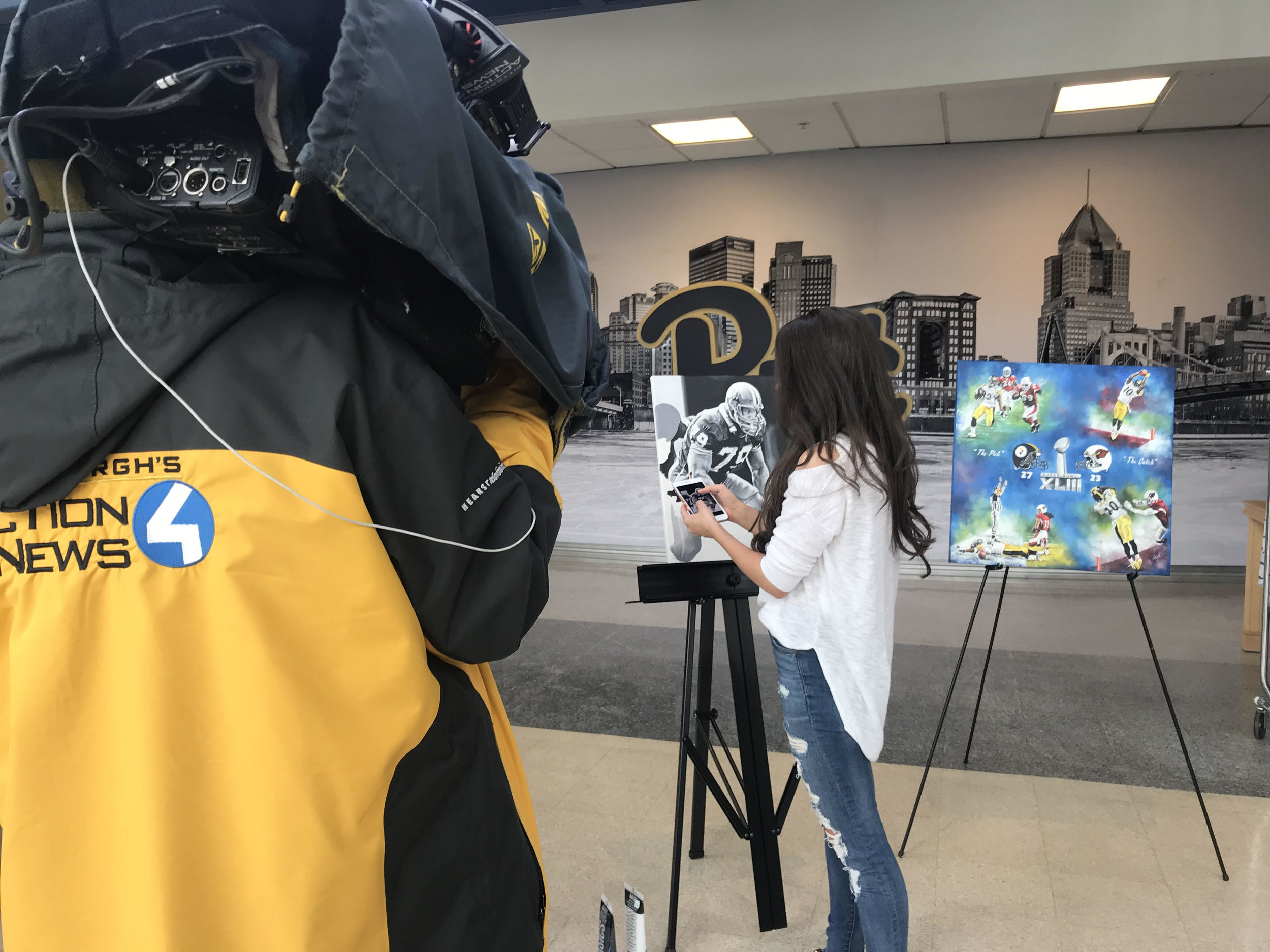 Kait during her WTAE interview at the Petersen Event Center