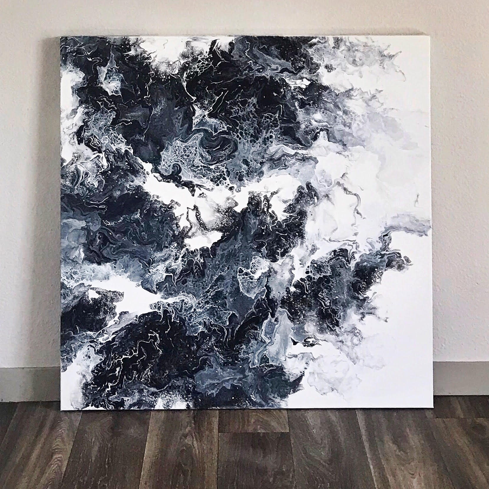 Abstract Acrylic Pour Painting Kait created for her apartment. 3ftx3ft