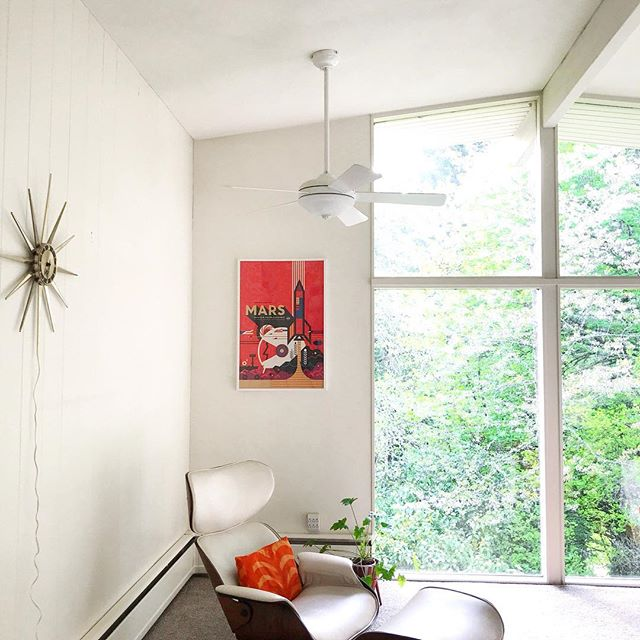 We are planning to replace this ceiling fan with one that's a little more our style. We saw that Ikea came out with a new one (swipe to see it), but it looks like it can't be installed on slanted ceilings. Has anyone attempted it? Seems like there has to be a work around.