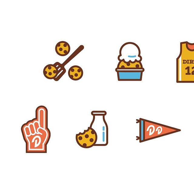 More brand development for @dirty_dough with this new icon set. A large portion of their target market is college students, so we incorporated some college-themed and late-night delivery icons. Swipe to see them all.