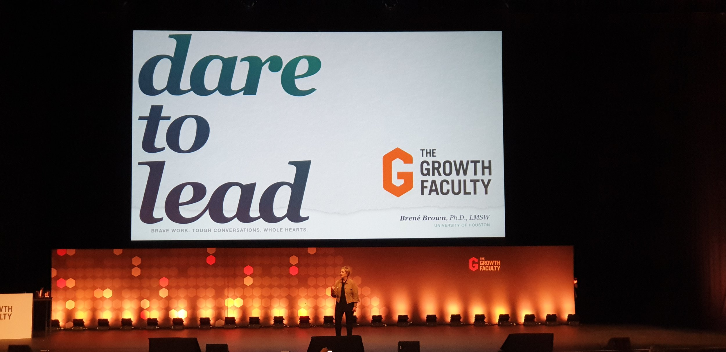 Brene struts her stuff on stage at the DARE TO LEAD workshop in Melbourne on 2nd August 2019