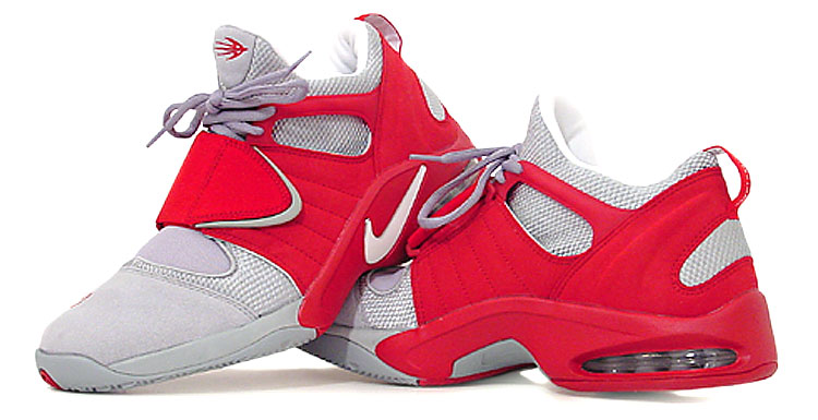 figure 2.  The red areas of the Air Jet Flight's upper act like an outer cage, providing the support and stability that the lightweight mesh and Lycra portions of the shoe (seen here in light grey) lack. The combo delivered the perfect blend of comfort and lockdown. Speaking of lockdown, the Jet Flight's oversized midfoot support strap also contributes to the shoe's fantastic fit, while delivering the added benefit of quick tune-ability: pull the strap tight to maximize agility or open it up to maximize comfort.