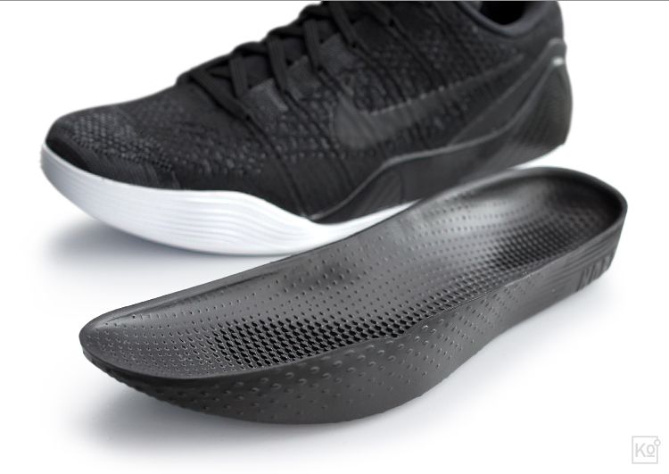 figure 5.  Kobe's signature shoe line has featured removable midsole construction since the VII, which was introduced in late 2011. There are pros and cons to this approach, but I'm a big fan because it enables a degree of court- and cushioning-feel that can't be matched by more traditional midsole constructions. I can understand why some reviewers have said they would have loved a full-length or heel Zoom Air unit to augment the Lunarlon insert, but I'm partial to the purity of this foam-only approach. My favorite feature of the midsole is its textured surface, which gives my toes something to grab onto and helps keep my feet awake and active.