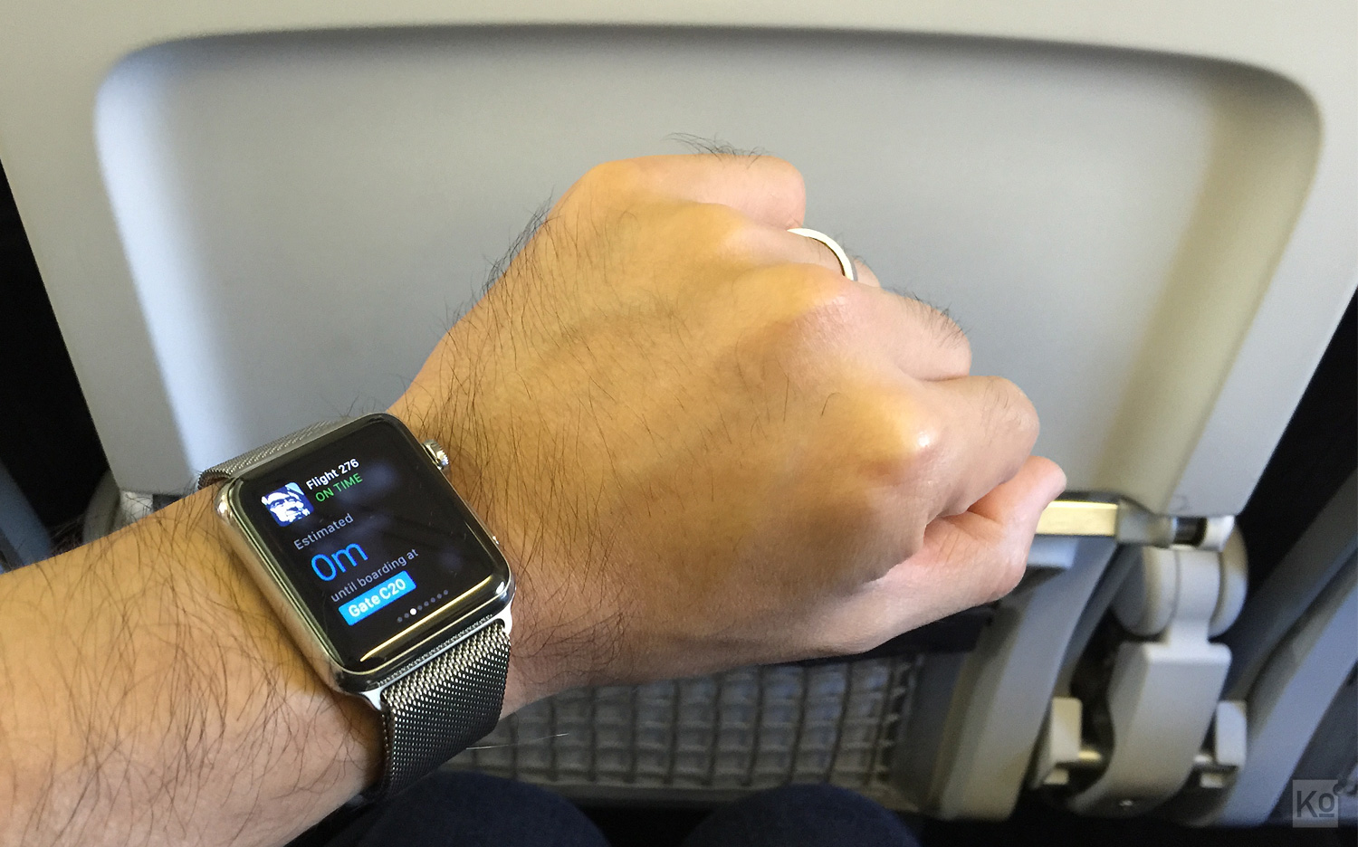 "What you're seeing here is something Apple calls a ""Glance."" That's a bite-sized chunk of information that I can quickly access by swiping up from the bottom of my Watch's display. Unlike notifications, Glances do require an underlying watchOS app. In this case, an Alaska Airlines app I have installed on my Watch is offering me this Glance of read-only information related to my flight. Tapping on the Glance would launch the Alaska Airlines app on my Watch, enabling me to get more info or perform some simple actions."