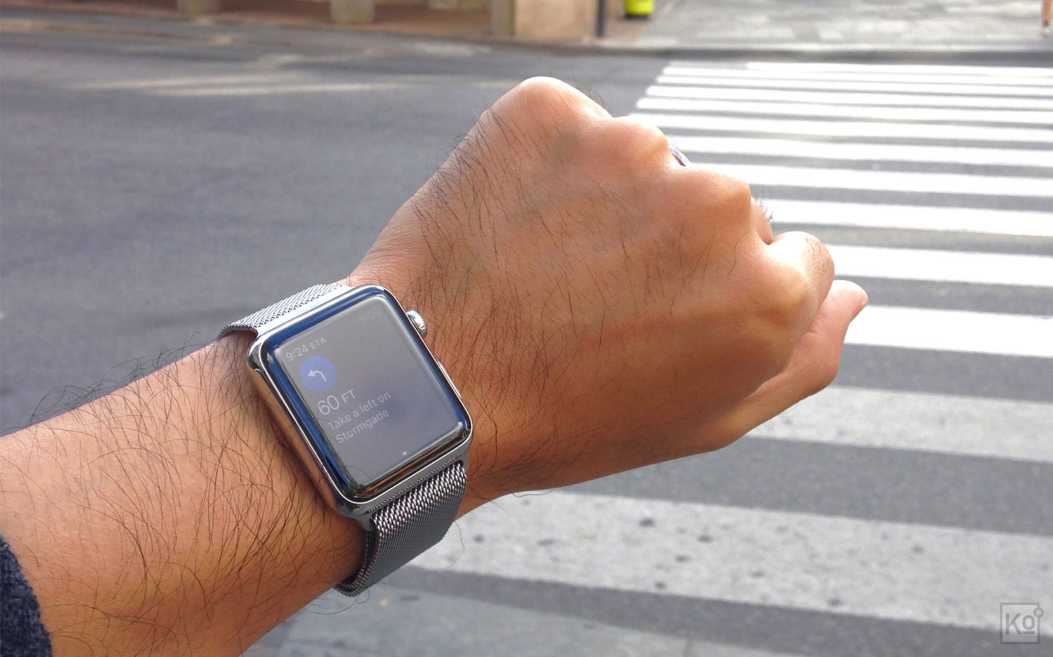 Although it's only occasionally useful, the most magical feature of Apple Watch I've experienced thus far is its application of haptic feedback (i.e. buzzing on your wrist) to enable eyes-free navigation. This works whether you're driving or walking, but is most effective when exploring a city on foot. I used it frequently while on a recent holiday in Copenhagen and it made me feel like I had some form of extrasensory perception; I was able to navigate streets I'd never encountered before without once looking down at my phone's screen for directions. This is an experience that can only be delivered by way of a wearable computer, and it makes me hopeful for the future of Apple Watch as a platform that enables use cases wholly distinct from today's smartphones.