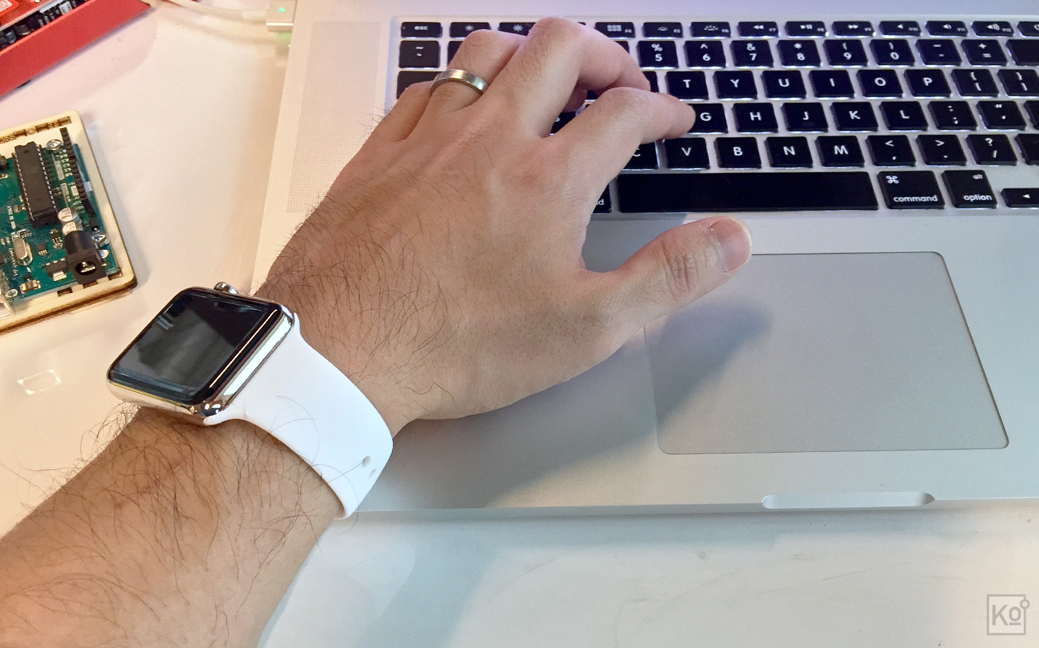 For those who might be wondering, neither the Sport Band, shown here, nor the Milanese Loop, depicted in a few photos above, has scratched the palm rest on my MacBook Pro. I'm also happy to report that neither of the bands has caused me any wrist discomfort while typing. Furthermore, I've had no problem at all with either band pulling on my wrist hair. On the contrary, I've found both to be terrifically comfortable: the Milanese Loop drapes around the wrist as though it were made of fabric, giving it the edge in terms of pure comfort, but the Sport Band gets the nod when I work out because it retains a consistent fit, whether I'm running, climbing or even in the pool.