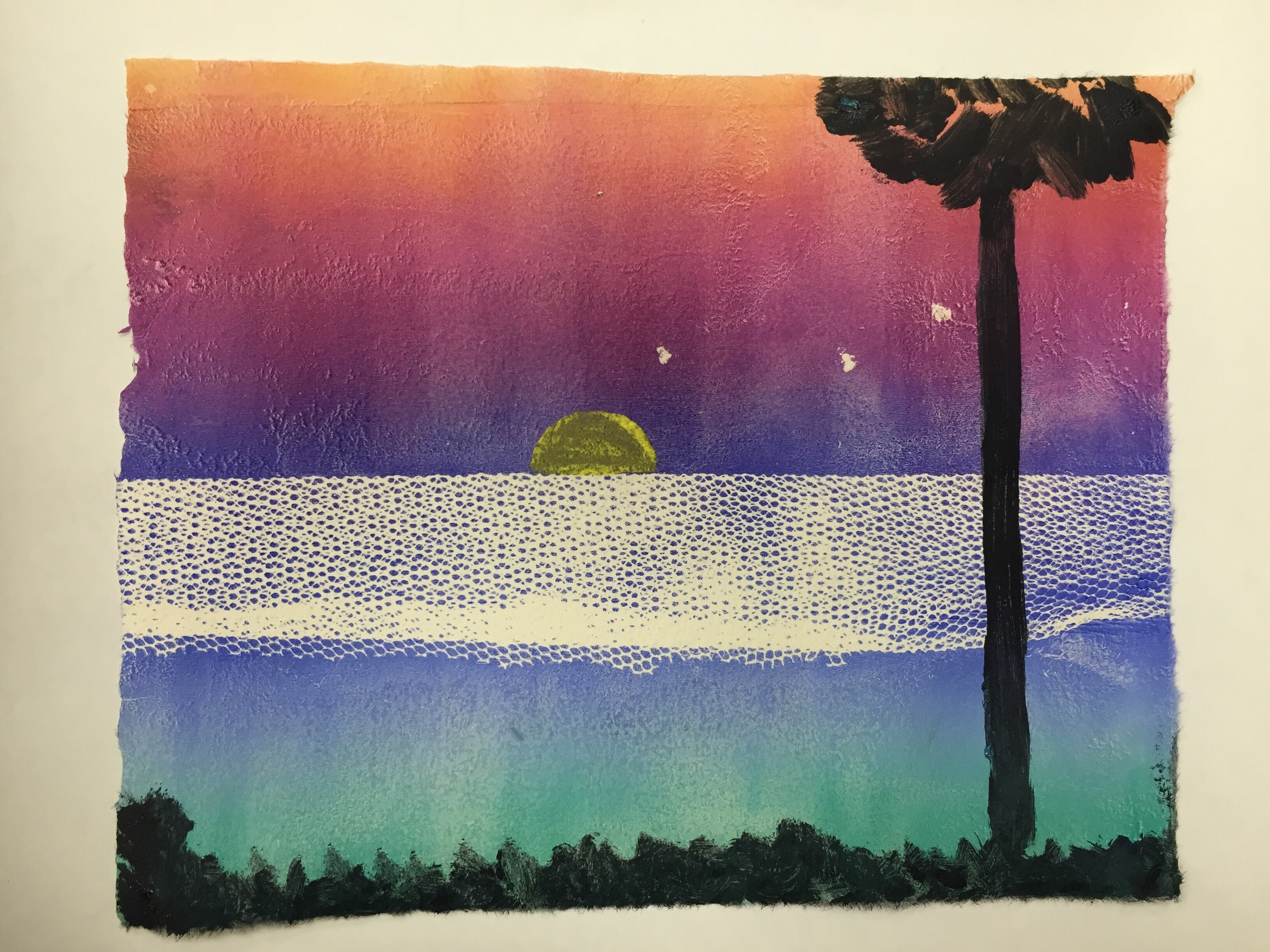 A students first Monoprint, complete with a rainbow roll and added texture. A big success!