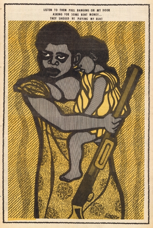 Emory Douglas' piece with a mother holding her child and a gun.    He is one of the artists and creatives whose shoulder I stand on and I think his ability to use imagery to take complex narratives and make them palatable for the masses is a revolutionary concept and often goes unrecognized.