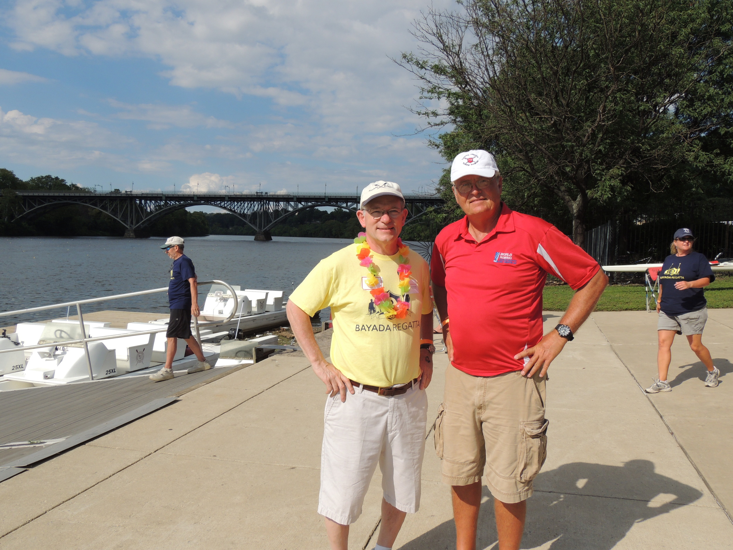 Regatta Founder Mark Baiada (Left) and Joe Dobson discussing adaptive rowing at the   2012 Bayada Regatta.