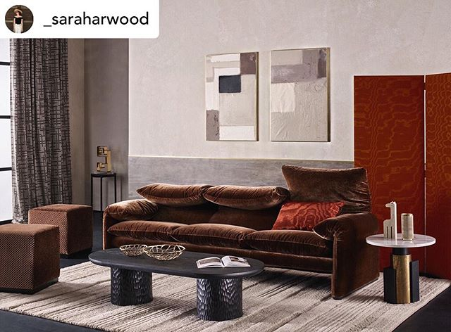 Posted @withrepost •  @_saraharwood One of my favourite shots from our new collections launching at #focus19atdcch featuring @cassinaofficial Maralunga sofa in cognac velvet.  With thanks to @alexpriceltd for the coffee table, @gallottieradice for the side table, @auralondon.official for the objet and @tufenkiancarpets for the rug. Photography by @chriseverard  Styling and set design by me. . . .  #zinctextile #photoshoot #interiors #interiordesign #interiorstyling #setdesign #creativedirection #modernart #cassina #plasterwalls #polishedplaster #maralunga #maralungasofa #shousugiban #gallottiradice #textiledesign #midcentury #johnlautner #midcenturymodern  #70sstyle #furnituredesign #livingroom #sofa #velvetsofa #screen #designinspo #luxuryinteriors #style #architecturaldigest