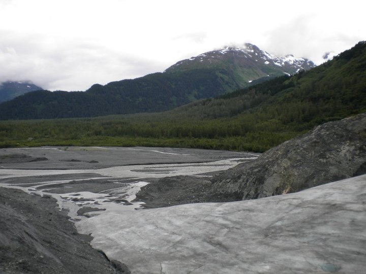 Exit Glacier 2010--the viewpoint used to be where you see the river below. The viewpoint has now moved 1/2 mile up the trail on the mountain (elevation hard to make out from this angle)
