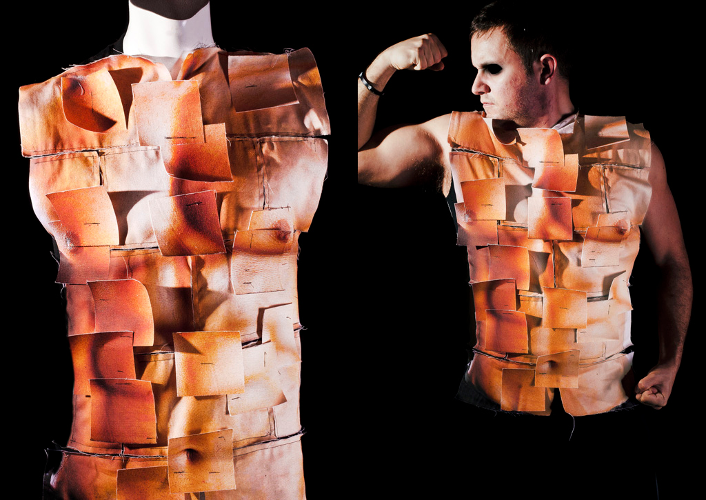 Construct   2010, Fabric Construction: ink-jet printed images on cotton panels stiched onto shirt.