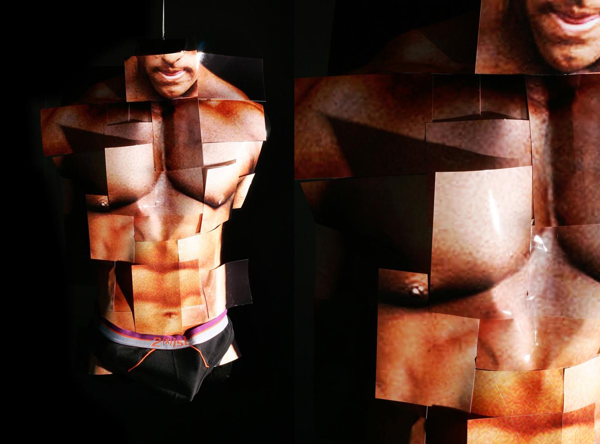 Shredded   2010, Sculpture: photos on men's form, underwear
