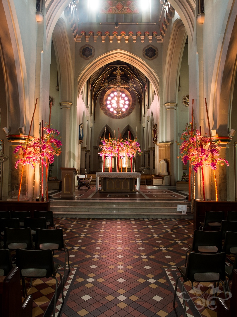 The High Altar at Nottingham Cathedral with floral installation styled and created by Neill Strain Floral Couture