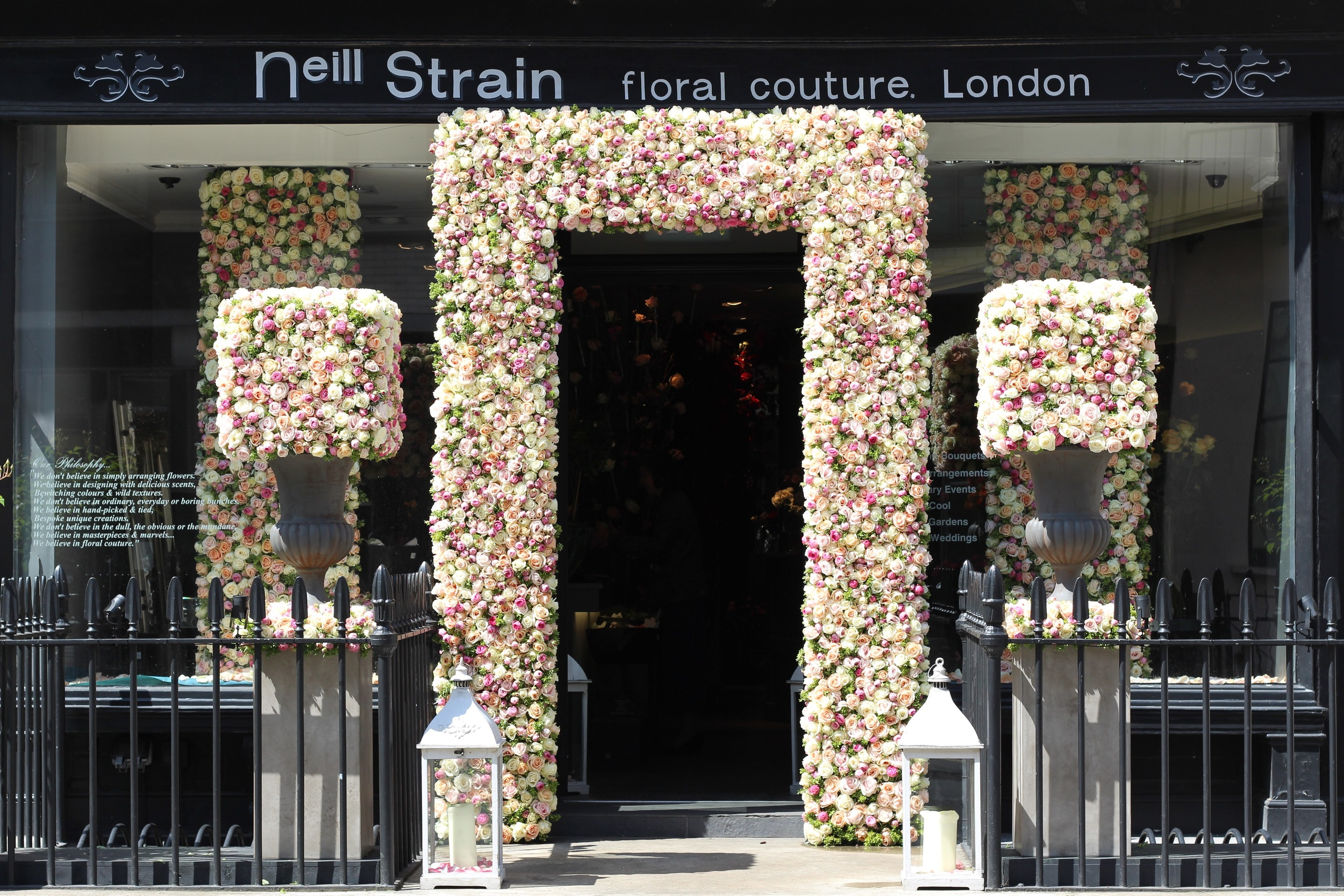 Floral installation at The Flower Lounge for Neill Strain's Celebration of the Rose