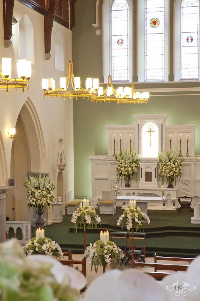 Luxury church wedding flowers by Neill Strain