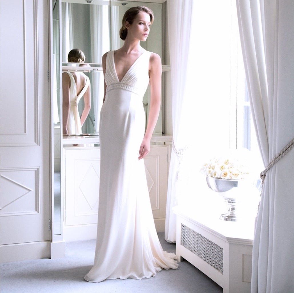 The 'Oriana' Fine Silk Georgette Bridal Gown with Finely Pleated Upper Bodice and Swarovski Encrusted Empire Trim €3995