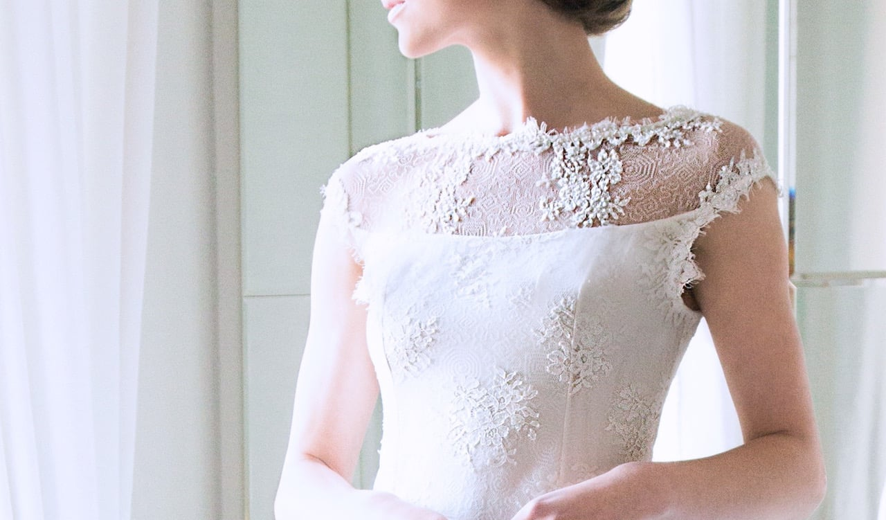"""Detail of the Beaded Sheer Upper Basque of Louise Kennedy's bridal gown """"Caroline"""""""