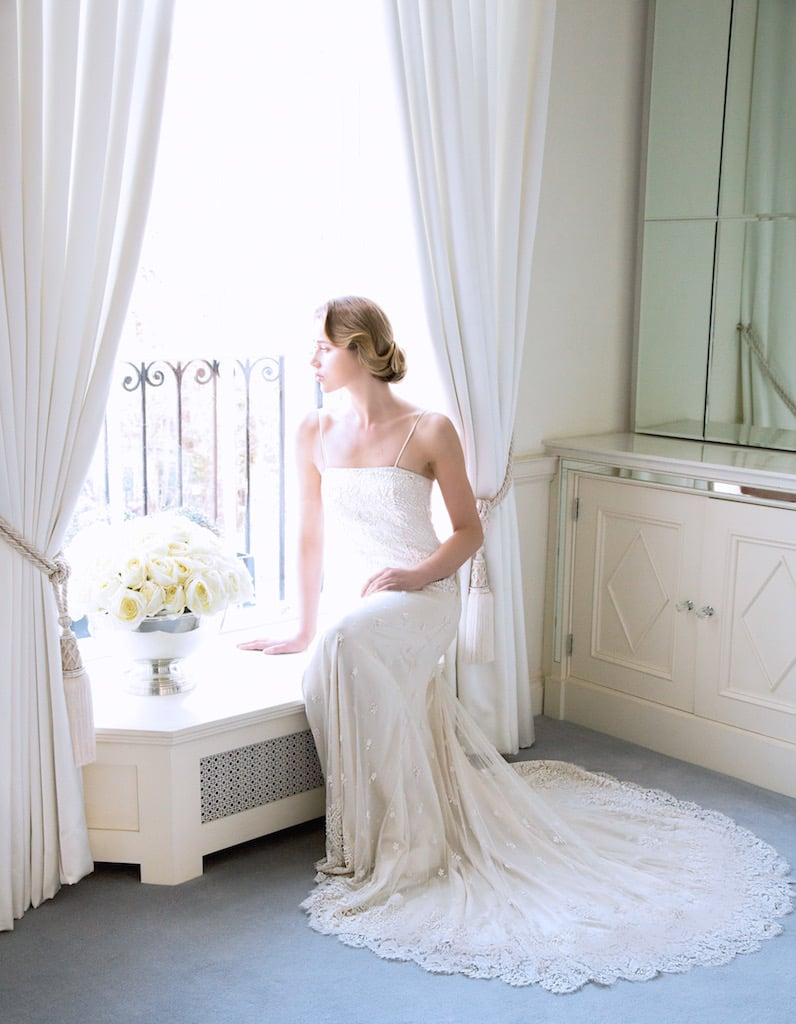 The 'Kari' Swarovski Encrusted Fine Lace Bridal Gown €7995 demands the magnificence of a full Carmen Rose.