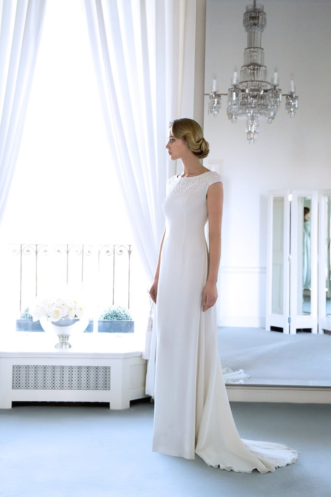 The 'Karlie' Silk Bridal Gown with Swarovski Encrusted Upper Basque €3995; pure refinement with the graceful line of Calla Lilies in almost any colour.