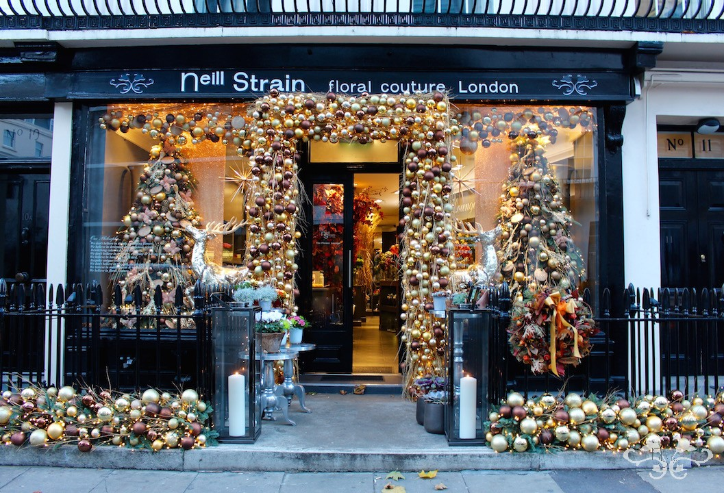 Christmas display at Neill Strain Floral Couture in Belgravia
