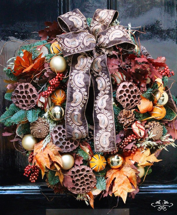 Luxury door wreath by Neill Strain Floral Couture Belgravia London