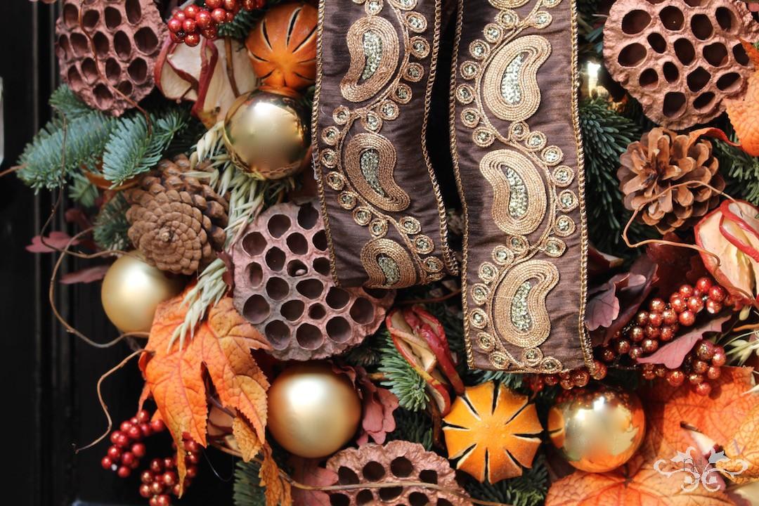 Luxury door wreaths Christmas decorations Neill Strain Belgravia London