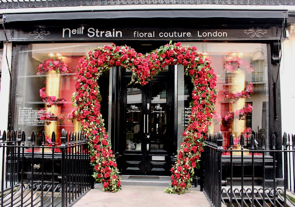 The Neill Strain Floral Couture heart is an annual tradition in Belgravia where lovers come to take their romantic photos