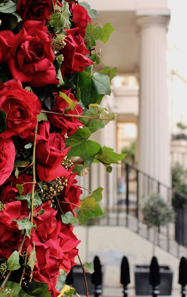 Romance on West Halkin Street in Belgravia thanks to Neill Strain Floral Couture's celebration of Valentine's Day
