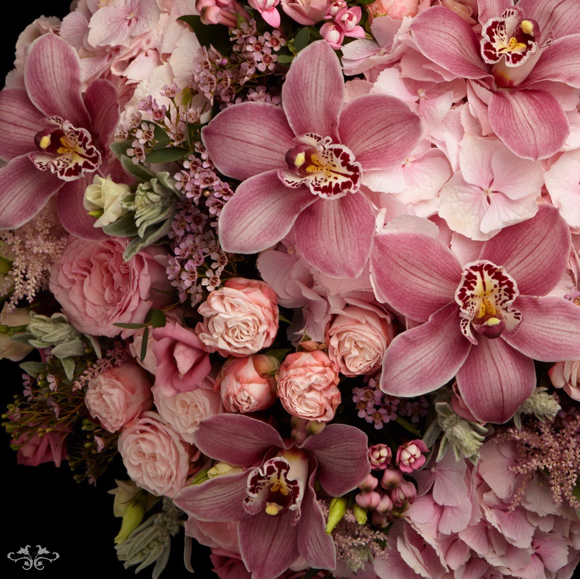 """""""Summer Pink"""" range includes a hand-tied bouquet, low table arrangement, tall arrangement and Petite Couture, all in small, medium or large"""