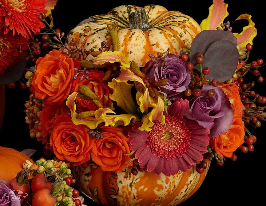 Pumpkin Couture arrangements are available in small, medium and large.