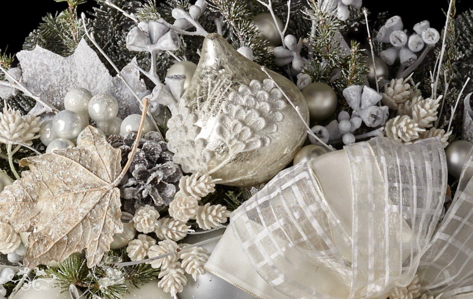 Snowy white and frosty silver give an ethereal look to Christmas decor.