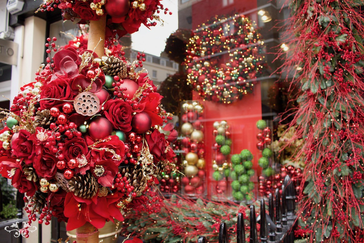 Luxury festive floral displays at the Neill Strain Floral Couture boutique in Belgravia
