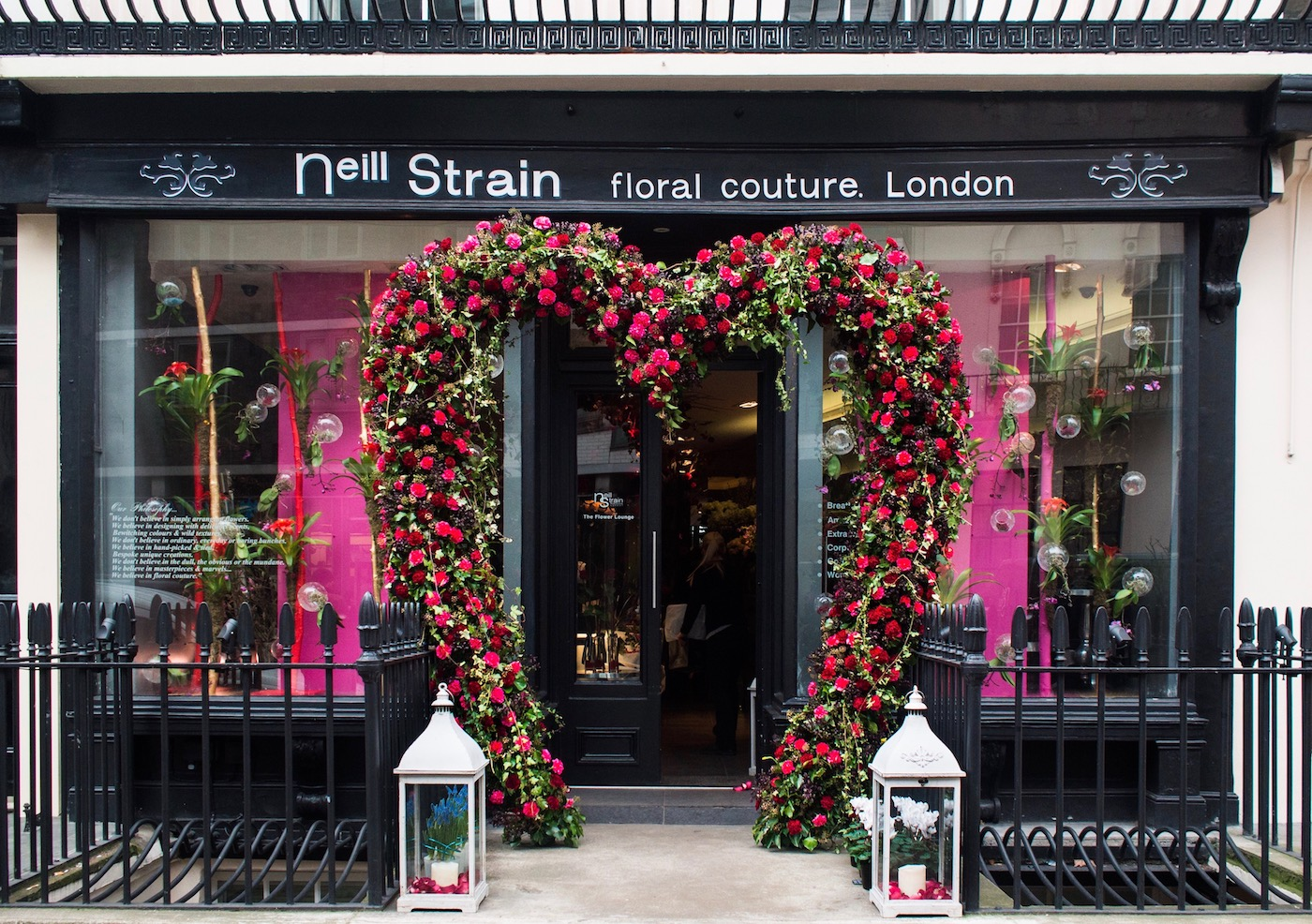 The Neill Strain Floral Couture boutique dressed for Valentine's Day