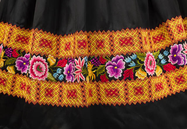 Detail of satin skirt with chain stitch and floral motif embroidery. Museo Frida Kahlo. © Diego Rivera and Frida Kahlo Archives