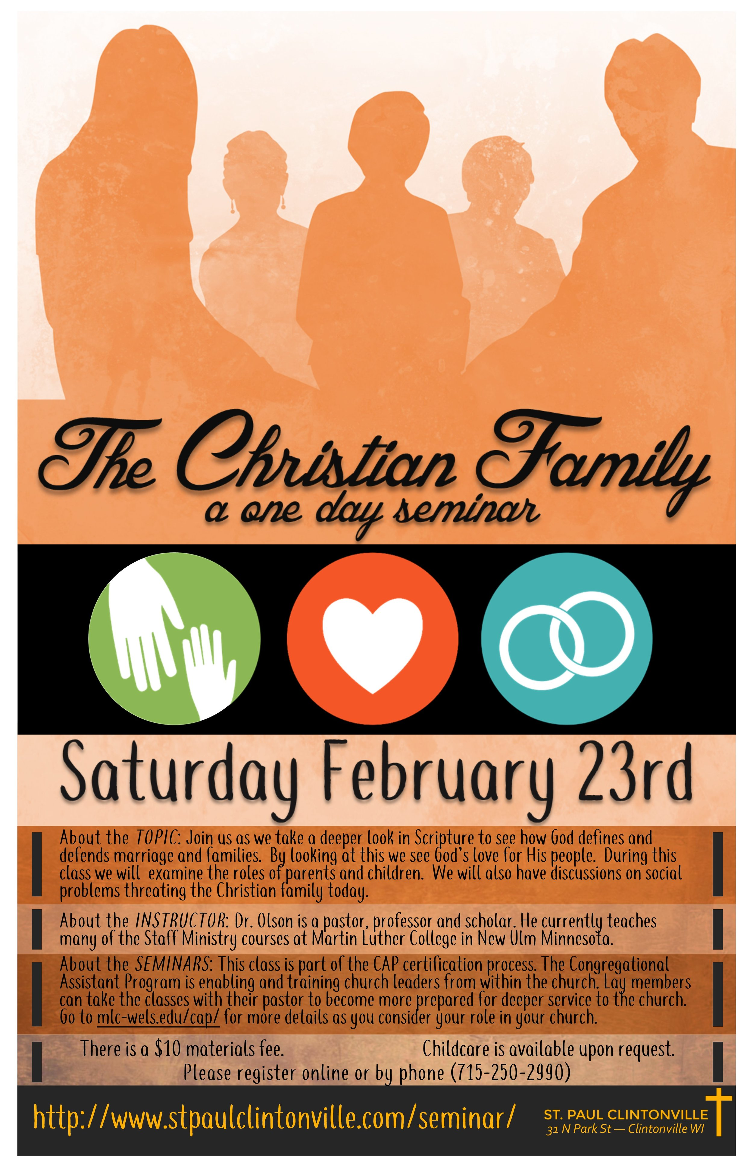 POSTER: one day Christian Bible Study and Training on the Christian Family, February 23, 2019 at St. Paul Church in Clintonville 54929