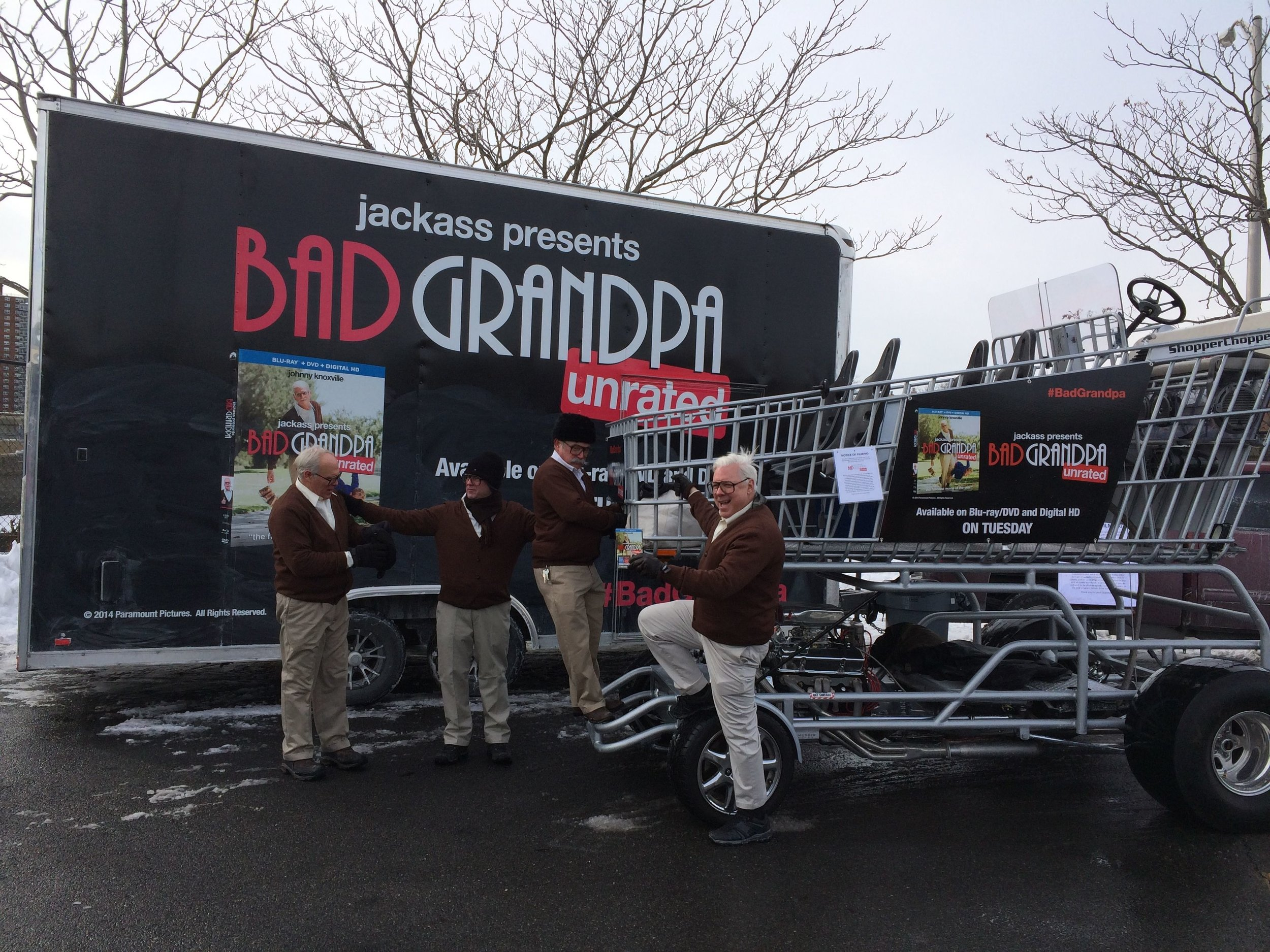 Five Bad Grandpas, snow, Yankee Stadium, hockey fans and a Johnny Knoxville DVD release promotion - that is a recipe for a memorable event - executed to perfection by Shopper Chopper.