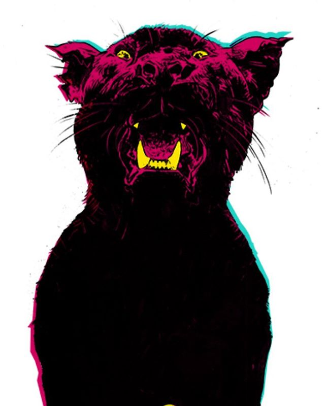 Panther/2017 3-color design (the black is overlay of the red and green), spot yellows. A ramp-up from last year. Doing something similar for next @theehypnoticsofficial poster for summer UK/euro festival gigs @christianbland @theblackangels #psychedelicart
