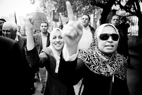 Egyptian women marching during the January 25 revolution. Photo by Hossam el-Hamalawy